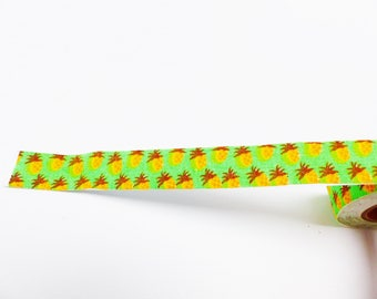 3.50 meters of masking tape ruban sticker cotton pineapple yellow and green self adhesive ribbon