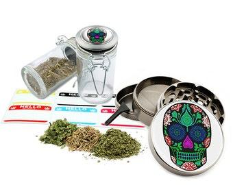 "Sugar Skull - 2.5"" Zinc Alloy Grinder & 75ml Locking Top Glass Jar Combo Gift Set Item # G021615-048"