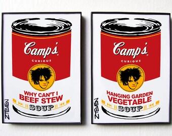 The Cure Pop Art Soup Cans, framed original art, set of 2 by Zteven