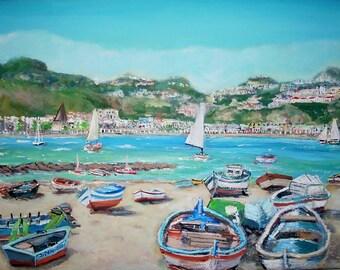 "Giardini Naxos - Original Impressionist - 12""x16"" - Acrylic on canvas, by Teresa Dominici"