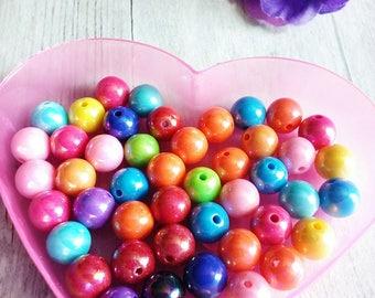 Set of 20 round beads bright 6 mm acrylic