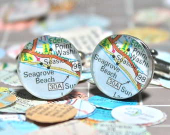 Seaside Florida Vintage Map Sterling Silver Round Cufflinks.
