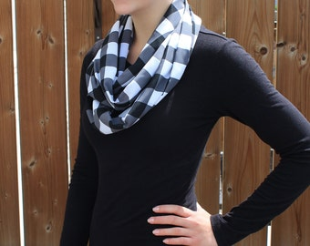 Black and White Checkered Infinity Scarf - Black and White Plaid Infinity - Plaid Circle Scarf - Loop Scarf - Silk Scarf - Gift for Her