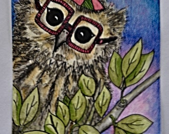 Dexter Hoot, cute whimsical fun owl wearing large square glasses with a vintage beanie hat that has a propeller on top.