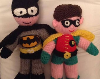 Batman & Robin Toy Knitting Pattern by Elaine Munn