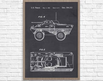 Armored Car Poster, Car Patent, Armored Car Poster, Car Patent Art, Boy's Room, Car Blueprint, Wall Art, Armored Vehicle
