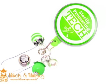 Sterile Processing Tech Green Retractable Badge Holder
