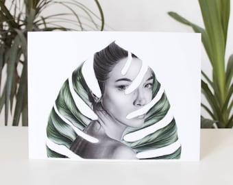 Fine Art Print   'Leave me alone'   Kunstdruck   Illustration   Kunst   Monstera   Poster   Natur   leave   Blatt   plant   surrealismus