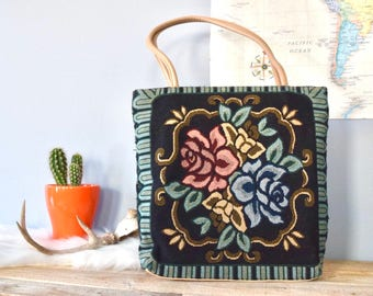 Floral Rose Embroidered Tapestry Tote Bag