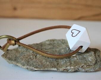 Key chain heart on suede belt