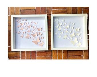 Wall Art Set of 2   3D wall Art   3D Butterfly Wall Art   3D framed paper art   paper butterflies  kids wall art set