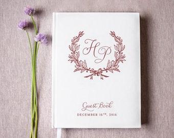 Wedding Guest Book #52 - Custom Hardcover Guest Book - Wedding Guestbook, Personalized Guest Book - Marsala - Maroon - Burgundy