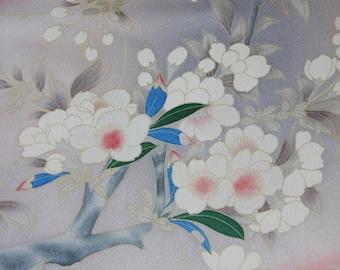 Bird and Sakura kimono fabric/ Peach /Vintage Kimono fabric/C