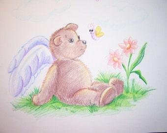 Childrens Art Print - Angel Bear - 8.5 x 11