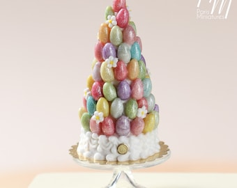 MTO -Stunning Easter Tree with Colourful  Sugar Eggs (OOAK) - Miniature Food in 12th Scale for Dollhouse