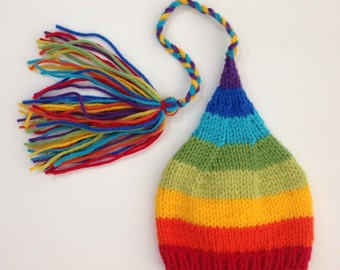 Newborn Baby RAiNBoW Hat Knitted BaBY PHoTO PRoP Stripe SToCKiNG HAT Long Tail Tassel FCN CaP Boy Girl Coming Home Beanie WinTeR ToQUe Gift