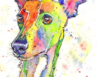 Whippet PRINT of Lurcher Greyhound Dog Picture of Original Watercolour Watercolor Animal Hound Sighthound Picture Art by Josie P.