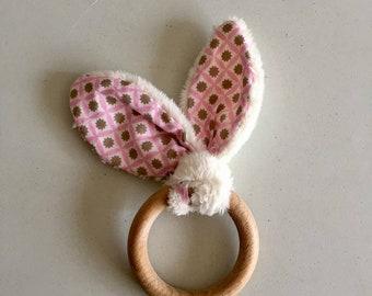 Pink Bunny teething ring