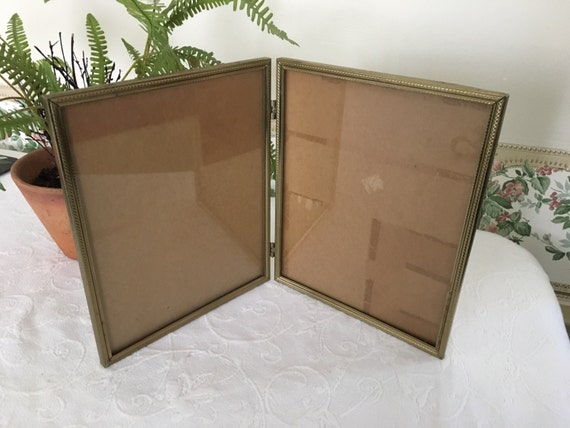 Vintage Gold Frames 8x10 Double hinged Picture Frame 70s Wedding ...