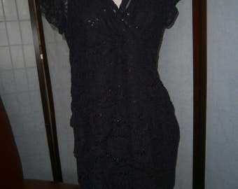 Women's Short Purple Lace Dress