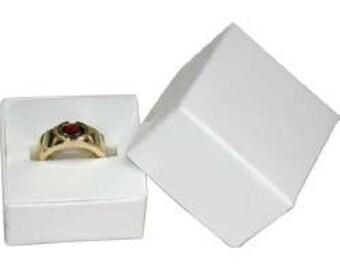 White Paper Square Ring Box with White Foam (Dozen)(DBX3801W)
