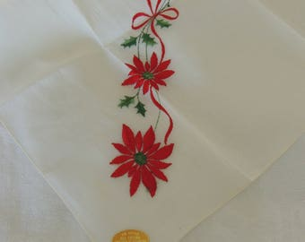 Vintage Christmas Hanky White Swiss Organdy with Red Poinsettias & Holly 1950s w/Sticker Fun Seasonal Hanky Period Costuming