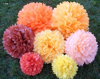 Set of 40 Tissue Paper Pom Poms - Your Colors - Wedding Backdrop, Ceremony Backdrop, Photo Backdrop