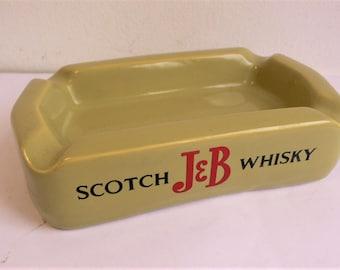 1970s Scotch J&B Whiskey  - Wade Ceramic Ashtray Man Cave Wade pdm Advertising  // vintage pin dish // nut dish etc