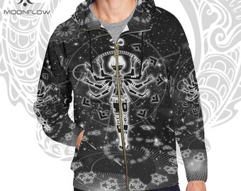 Goa Hoodie Goa Clothing Men Rave Hoodie Rave Clothing Men Techno Jacket Festival Hoodie Meditation Gifts Mindfulness Gift Burning Man Men