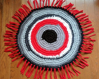 Crochet Round Rug - Boho Meditation Mat, Upcycled Hiking Gear