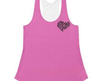 Dyani pop art pink cheetah heart  Women's Racerback Tank