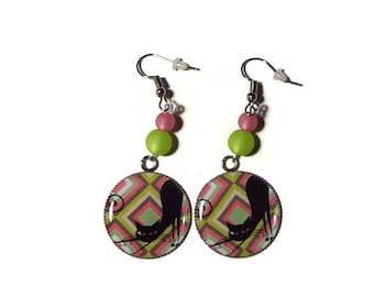 Earrings dangle cabochon cats amid pink and green/gift
