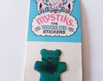 Vtg 80's Oilies Sticker Teddy Bear MOC color changing oily  Liquid Crystal Oilies toy