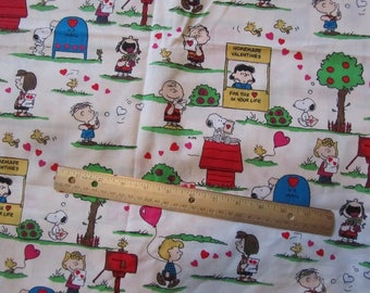 White Peanuts Gang Valentine Cotton Fabric by the Half Yard