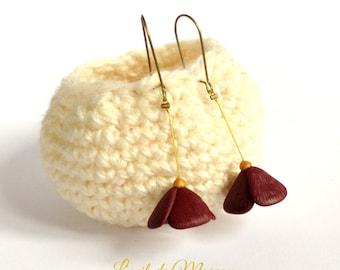 simple dark Burgundy Flower Earrings