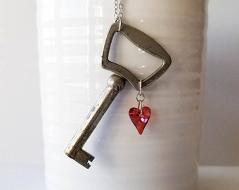 Red Heart Skeleton Key Necklace, Red Heart Pendant, Red Heart Necklace, Antique Key Necklace, Vintage Key Necklace, Skeleton Key Pendant