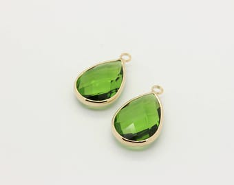 2 Pcs, Erinite Glass Drop Pendant / 16K Real Gold Plated Over Brass, Glass Drop Charm, Faceted Teardrop, 22mm x 13.5mm, 12L2-16G-01C
