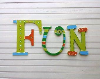 The Word FUN - Fun Sign - Play Room Decor - Kids Room Decor - Letters to Spell FUN