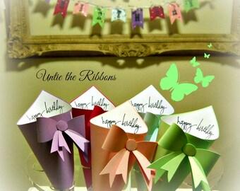 Happy Birthday Assorted Mini Petal Cones & Coordinating Happy Birthday Banner - Paper Cones (12-count)