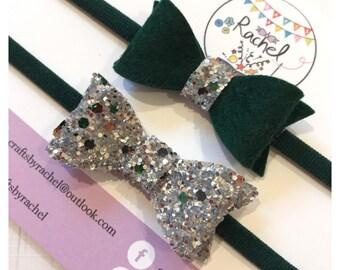 Dark Green Felt & Emerald Sparkle Headband Set