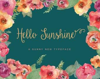Hello Sunshine Elegant Handwriting Cursive Script Commercial Font download + Freebie Doodles, catchwords, and ornaments