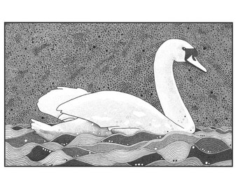Art illustration print, Pen and ink swan, Graphic art drawing swan, Ink bird, Drawing swan on lake, Black and white illustration swan