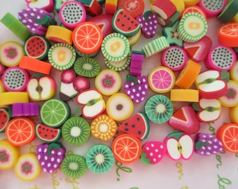 Small Chunky Clay sliced miniature fruits Assorted Mix 20pcs 02
