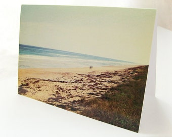 Apollo Beach Afternoon Notecard - Blank 4x5.5 Note Card, Single or Set of 4 - Blue Brown- Sand Nature Summer Ocean Florida