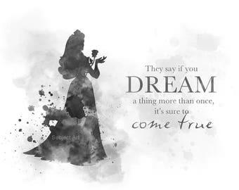 Sleeping Beauty, Aurora Quote ART PRINT illustration, Black and White, Disney, Princess, Wall Art, Home Decor, Gift