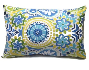 Decorative Pillow Cover Navy Blue Sky Blue Olive Green Turquoise Chartreuse Yellow White Lumbar Same Fabric Front/Back  12x18 inch x