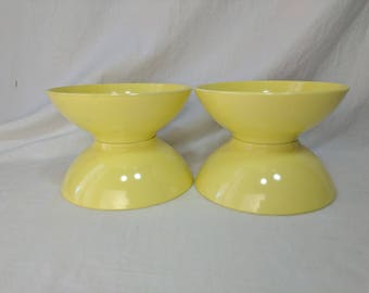 Mid Century Sun Valley Melmac Yellow Bowls set of 4  Plastic Melamine Picnic Glamping funky retro *eb