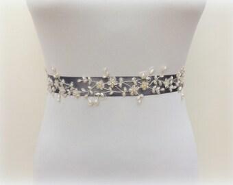Silver sash belt. Ivory lace flowers and pearls sash. Wedding dress sash. Embroidered sash. Dark gray sash belt.