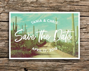 Desert Cactus Save the Date Postcard // Arizona Wedding Invitation Saguaro Cactus Succulent Postcards Desert Bohemian Save the Dates Teal
