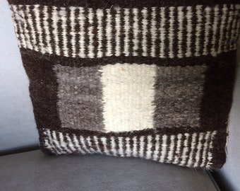 Dark Brown Geometric Square Throw Pillow, Handwoven, Hand Dyed Wool